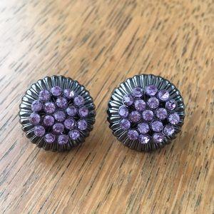 Purple rhinestone/metal earrings